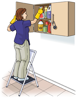 Woman on stepladder putting spray bottle into cabinet high on wall. Other bottles are in cabinet. Cabinet has lock on handle.