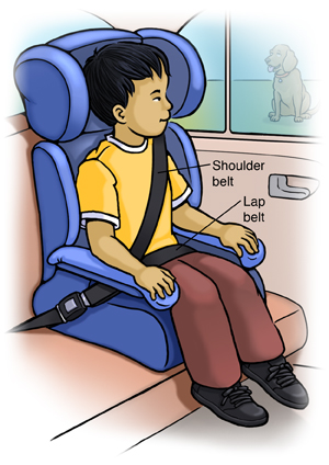 Boy sitting safely in booster seat in back seat of car.