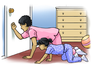 Woman on all fours on ground with back of hand on bedroom door. Small girl is on all fours beside her.