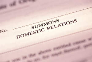 Close-up of Summons Domestic Relations document.