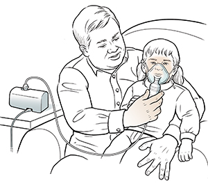 Man holding toddler girl on lap helping her breathe through nebulizer mask.