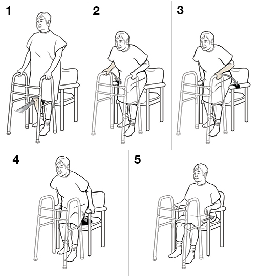 5 steps in sitting with a walker (weight bearing)