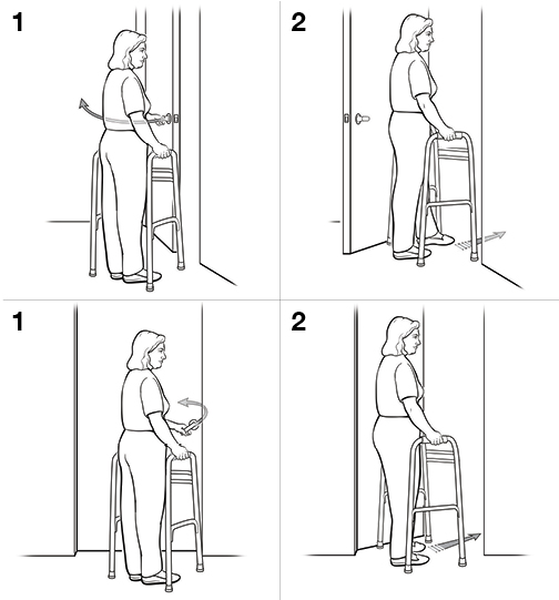 4 steps in going through a door with a walker