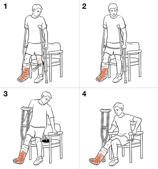 4 steps in sitting with crutches (non-weight bearing)