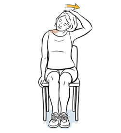 Woman sitting in chair doing tension release neck exercise.