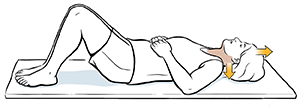 Woman lying on back doing neck glide exercise.