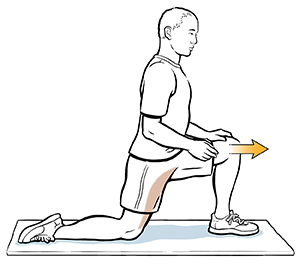 Man kneeling on one knee doing hip stretch.