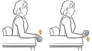 Woman sitting in chair with arm on table doing wrist extension exercise with hand weight.