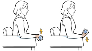 Woman sitting in chair with arm on table doing wrist flexion exercise with hand weight.