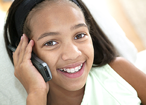Teen girl on telephone.