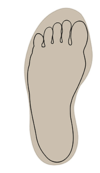 Outline of foot fitting inside shape of shoe.