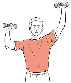 Man holding hand weights with one elbow at shoulder level, palms forward. Other arm is raised.
