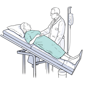 Healthcare provider doing tilt table test with female patient.