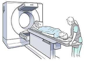 Healthcare provider preparing woman for scan.