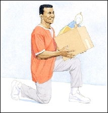 Image of man on one knee lifting a box to the knee