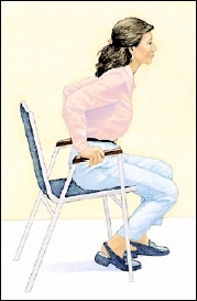 Image of woman in chair lifting herself up off the chair using her arms