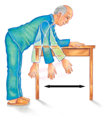 Man leaning over with back straight, supporting himself on back of chair with one hand. Other arm is hanging from shoulder with arrows showing arm moving in circle.