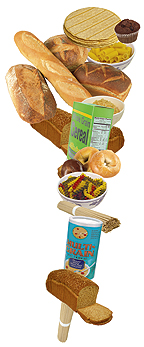 Tortillas, muffin, bread, pasta, cereal, bagels, multi-grain hot cereal.